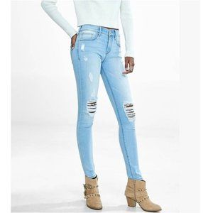 Express Light Was Mid Rise Distressed Jean Legging